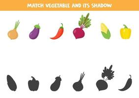 encontre a sombra correta dos vegetais. conjunto de produtos saudáveis. vetor