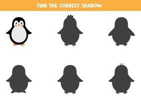 Encontre a sombra certa do pinguim dos desenhos animados. jogo lógico para crianças. vetor