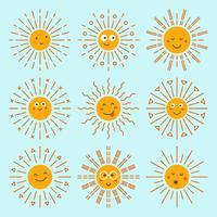 Emoticon Sun coleção Vector