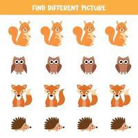 encontre o animal na linha de alcance que seja diferente das outras. vetor