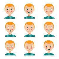 conjunto de várias expressões faciais de menino de cabelos vermelhos bonito dos desenhos animados. vetor