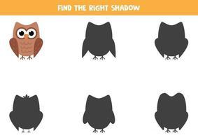 encontrar a sombra correta da coruja bonito dos desenhos animados. planilha para crianças. vetor