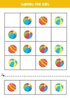 sudoku com bolas de brinquedo bonito dos desenhos animados. jogo para crianças. vetor