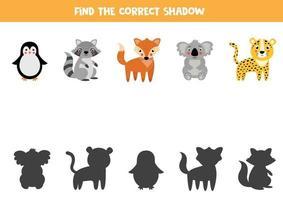Encontre a sombra certa de animais bonitos dos desenhos animados. vetor