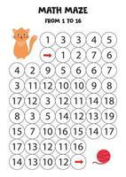 labirinto matemático para crianças. gato bonito dos desenhos animados e bola de linha. vetor