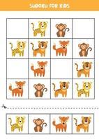 sudoku com leopardo, tigre, macaco, raposa. quebra-cabeça para crianças. vetor