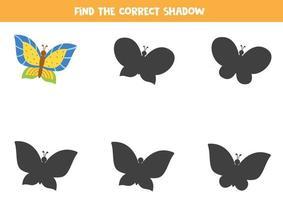 Encontre a sombra certa de uma linda borboleta brilhante. vetor