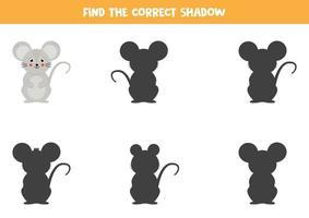 encontre a sombra certa do mouse. jogo educativo para crianças. vetor