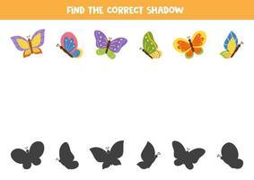Encontre a sombra certa de borboletas de desenho animado. vetor