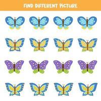encontre uma borboleta que seja diferente das outras. jogo lógico para crianças. vetor