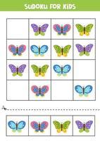 sudoku para crianças. lindas borboletas fofas. vetor