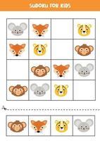 sudoku com rostos de animais fofos e felizes. vetor
