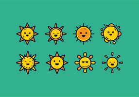 vetor de conjunto de clipart de sol