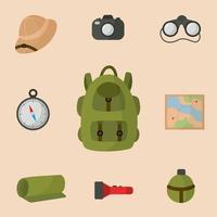 coleção de equipamentos para viagem de safári. mochila de turista. vetor