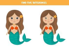 encontrar cinco diferenças entre a sereia bonito dos desenhos animados. vetor