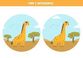 encontre 5 diferenças. jogo educativo com girafas de desenhos animados. vetor