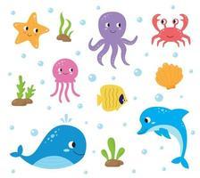 conjunto de animais marinhos bonitos dos desenhos animados. vida subaquática. vetor