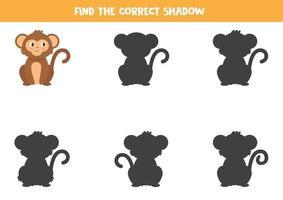 Encontre a sombra certa do macaco dos desenhos animados. planilha para impressão. vetor