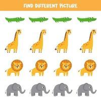 encontrar imagens diferentes entre animais africanos. vetor