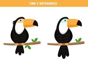 encontre 5 diferenças. tucanos bonitos dos desenhos animados. vetor
