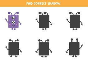 encontre a sombra correta. monstro roxo fofo. vetor