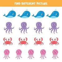 encontre uma imagem diferente das outras. animais marinhos. vetor