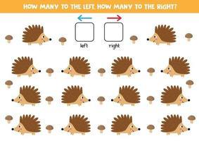 orientação espacial para crianças. esquerda ou direita. ouriços bonitos dos desenhos animados. vetor