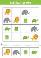 sudoku para crianças. cartões com elefante, leão, tartaruga, sapo. vetor