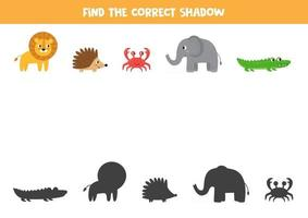 encontre a sombra certa de animais. conjunto de animais bonitos dos desenhos animados. vetor