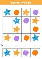 jogo de sudoku para crianças pré-escolares. concha e estrela do mar. vetor
