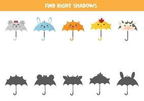 combinar guarda-chuva animal e sua sombra. jogo para impressão. vetor