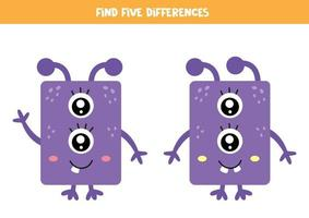 encontre cinco diferenças entre dois monstros roxos fofos. vetor