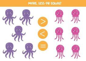 mais, menos ou igual a animais marinhos bonitos dos desenhos animados. comparação para crianças. vetor