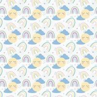 arco-íris com nuvens, sol e corações sem costura padrão. delicado padrão infantil. design para têxteis, papel, impressão. ilustração vetorial vetor