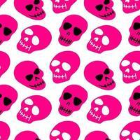 o padrão do crânio. crânios roxos em uma ilustração de background.vector branco. design brilhante e moderno para o dia das bruxas, dia dos mortos, tatuagens, gravuras, pôster vetor
