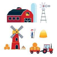 agricultura colheita conjunto de agricultura de equipamento. celeiro vermelho, silo, moinho de vento, moinho, trator com semirreboque, fardo de feno, sacos de ilustração vetorial de estilo simples de farinha isolada no fundo branco. vetor
