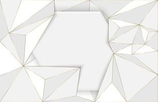 fundo abstrato de poliéster baixo com elemento branco e dourado composição de forma de geometria moderna futurista vetor