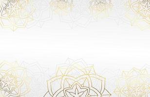 fundo branco luxuoso moderno com elemento de flor de mandala decorativo vetor