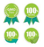 ilustração em vetor gmo free e 100 natural label set