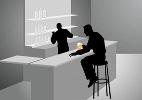 ilustração da silhueta de um homem no bar vetor