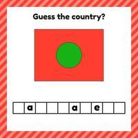 planilha de geografia para crianças em idade pré-escolar e escolar. palavras cruzadas. bandeira de bangladesh. Cessar o país. vetor