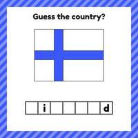 planilha de geografia para crianças em idade pré-escolar e escolar. palavras cruzadas. bandeira da finlândia. Cessar o país. vetor