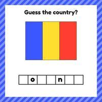 planilha de geografia para crianças em idade pré-escolar e escolar. palavras cruzadas. bandeira da Romênia. Cessar o país. vetor