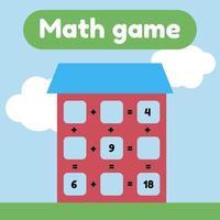 ilustração vetorial. jogo de matemática para crianças em idade pré-escolar e escolar. conte e insira os números corretos. Adição. casa com janelas. vetor
