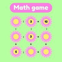 ilustração vetorial. jogo de matemática para crianças em idade pré-escolar e escolar. conte e insira os números corretos. divisão. clareira com flores rosa. vetor