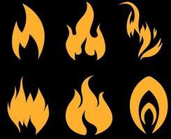 desenho de ilustração de coleção de fogo de tocha flamejando com chamas com fundo preto vetor