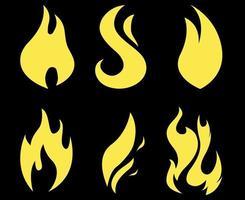ilustração abstrata do ícone do design da coleção da tocha de fogo com fundo preto vetor