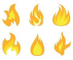 ilustração de logotipos de design de fogo de coleção abstrata de tocha em fundo branco vetor