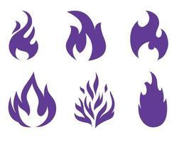 tocha fogo coleção ícones chama ilustração vetorial design abstrato com fundo branco vetor