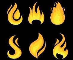 fogo tocha coleção ícones chama ilustração vetorial design abstrato com fundo preto vetor
